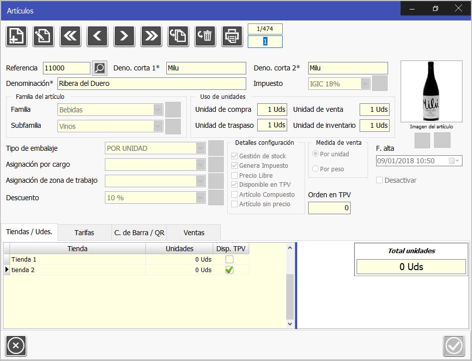 TPV Caja Amiga. Ventana de módulo de gestión de artículos