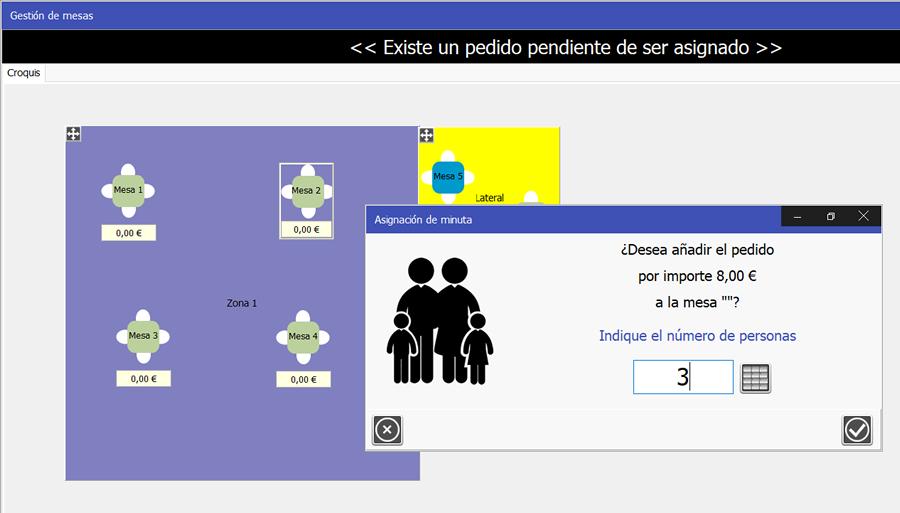TPV Caja Amiga: Imagen de ventana de asignación de pedido a mesa