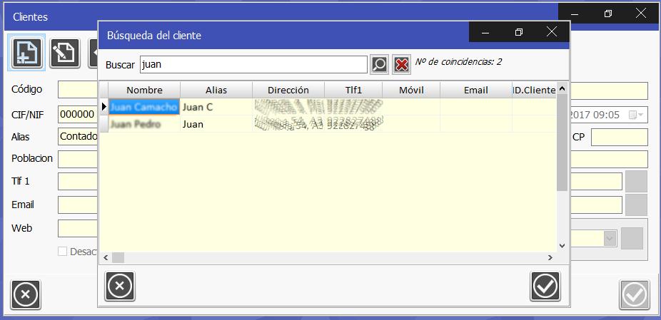 TPV Caja Amiga. Ventana de búsqueda de cliente