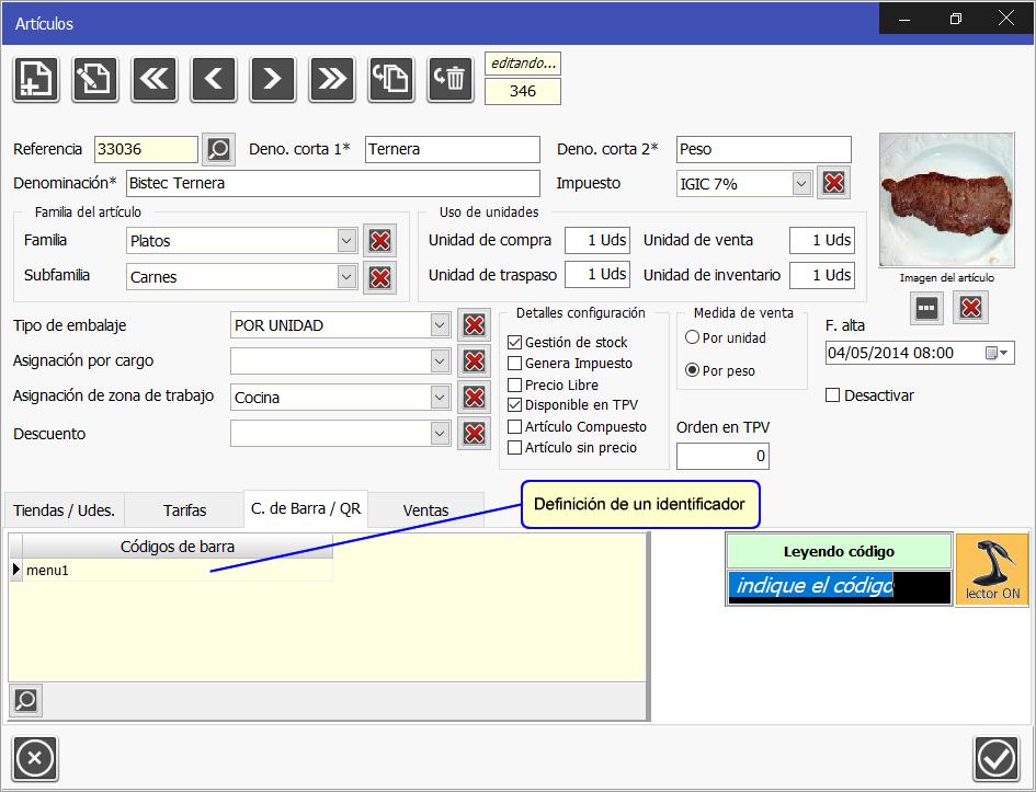 TPV Caja Amiga. Captura del código de barra