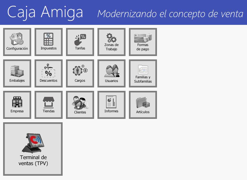 TPV Caja Amiga. Visualización de los módulos operativos
