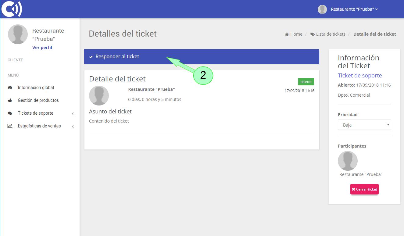 TPV Caja Amiga. Ticket de soporte. Edición del ticket