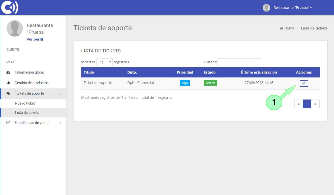 TPV Caja Amiga. Ticket de soporte. Listado de tickets emitidos