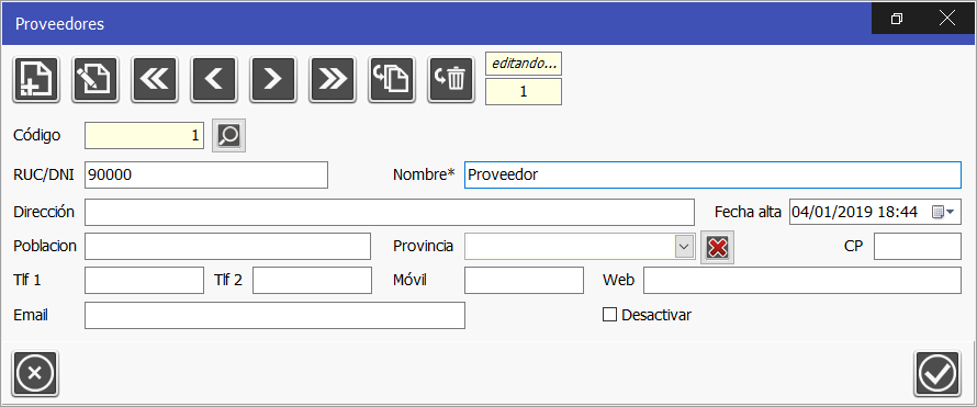 TPV Caja Amiga. Ventana vista de proveedores