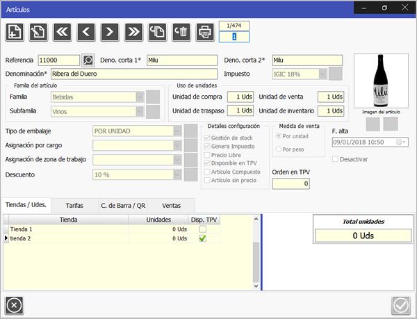 TPV Caja Amiga: Módulo de Artículos, permite definir sus características, tarifas, familia, subfamilia, e imagen de visualización TPV