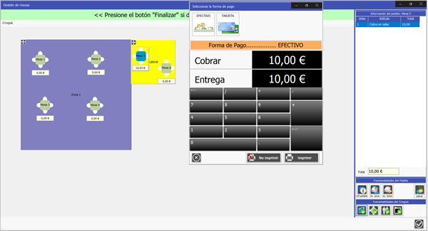 Software de Gestión de Venta  TPV Caja Amiga: Proceso de cobro de una mesa en un restaurante