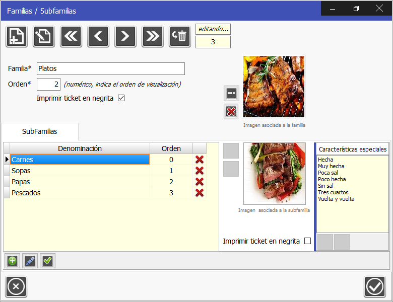 TPV Caja Amiga: Edición de una subfamilia, permite definir el orden de visualización en la TPV y las características especiales