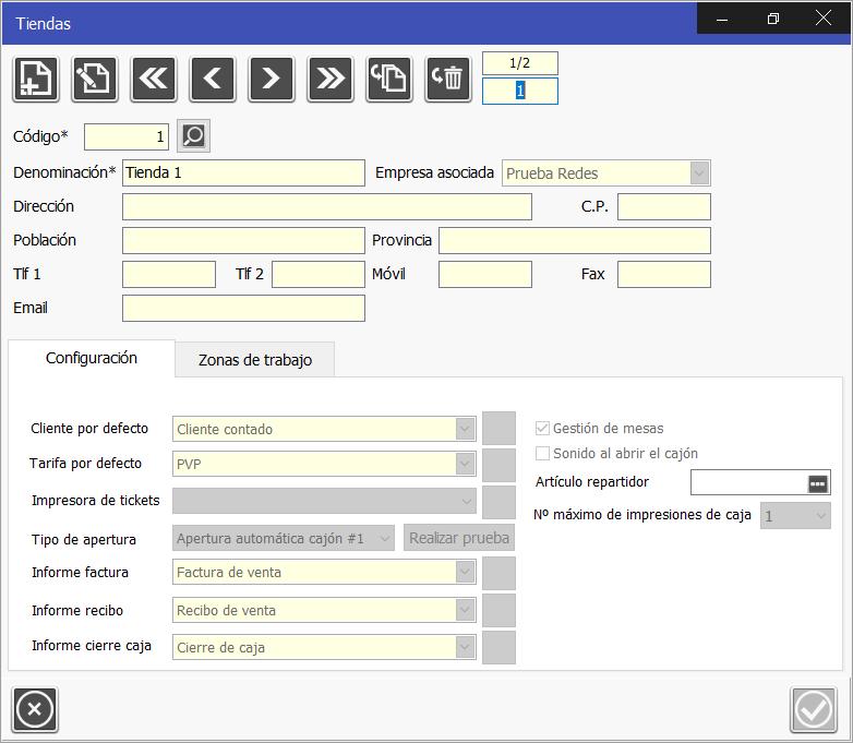 TPV Caja Amiga: Configurar tienda, definiendo informes, tarifa por defecto, gestión de mesas y zonas de trabajo por tienda