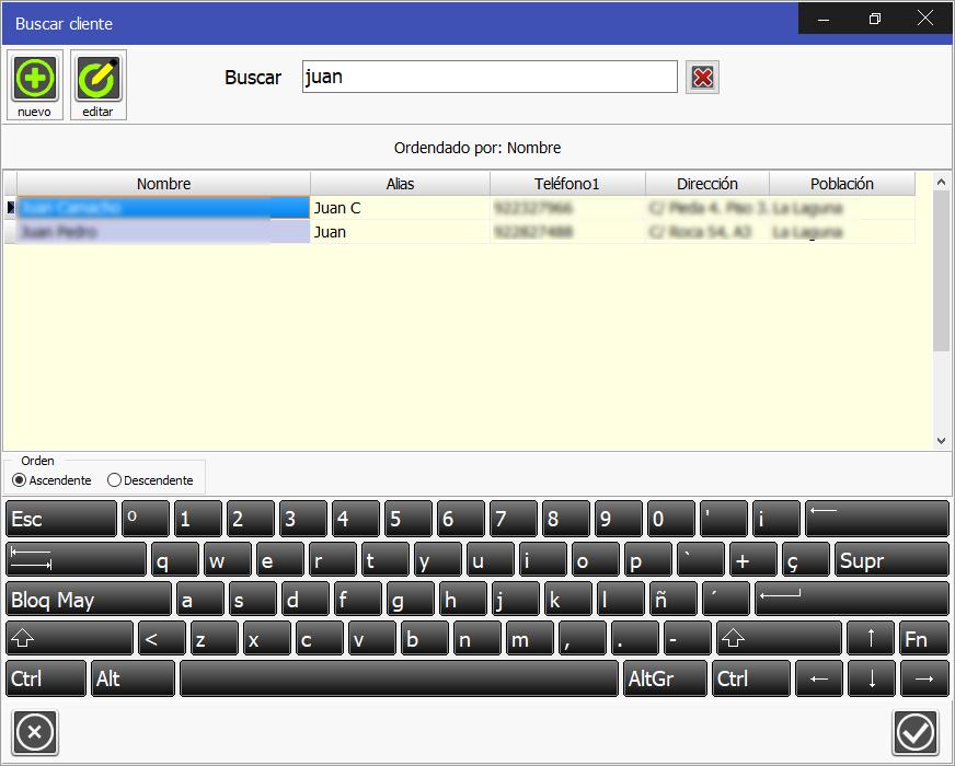 Software de Gestión de Venta  TPV Caja Amiga: Proceso de búsqueda de cliente