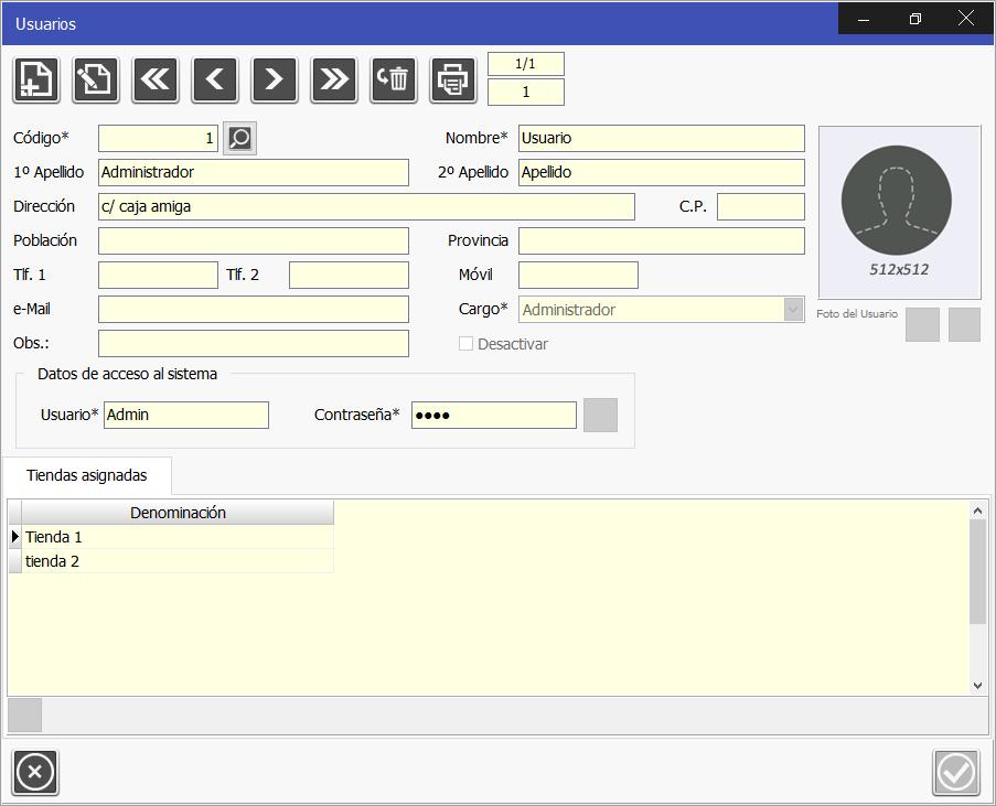 TPV Caja Amiga: Edición de usuario o empleado, se asignan un cargo a cada empleado y se otorga permisos de acceso